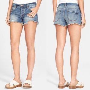 Free People Sharkbite Blue Denim Cutoff Shorts 24